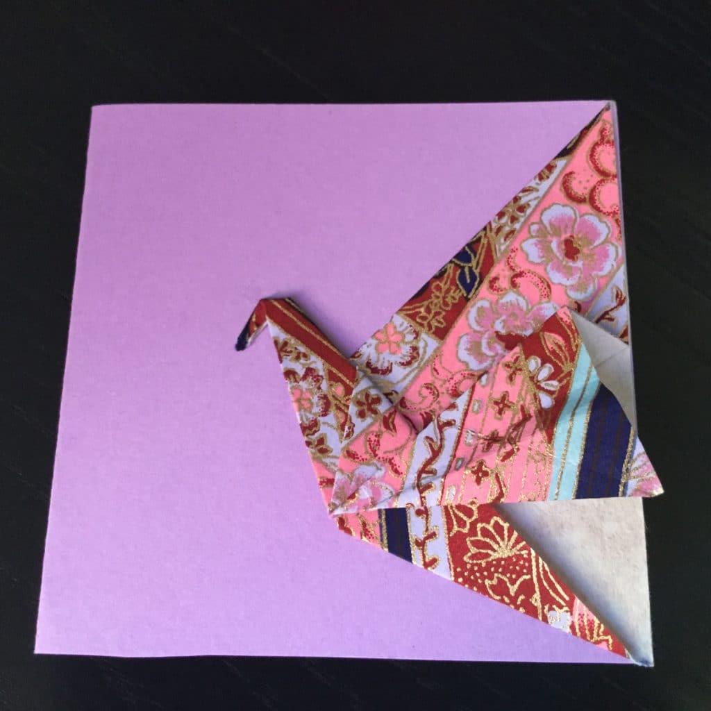 Carte grue en origami