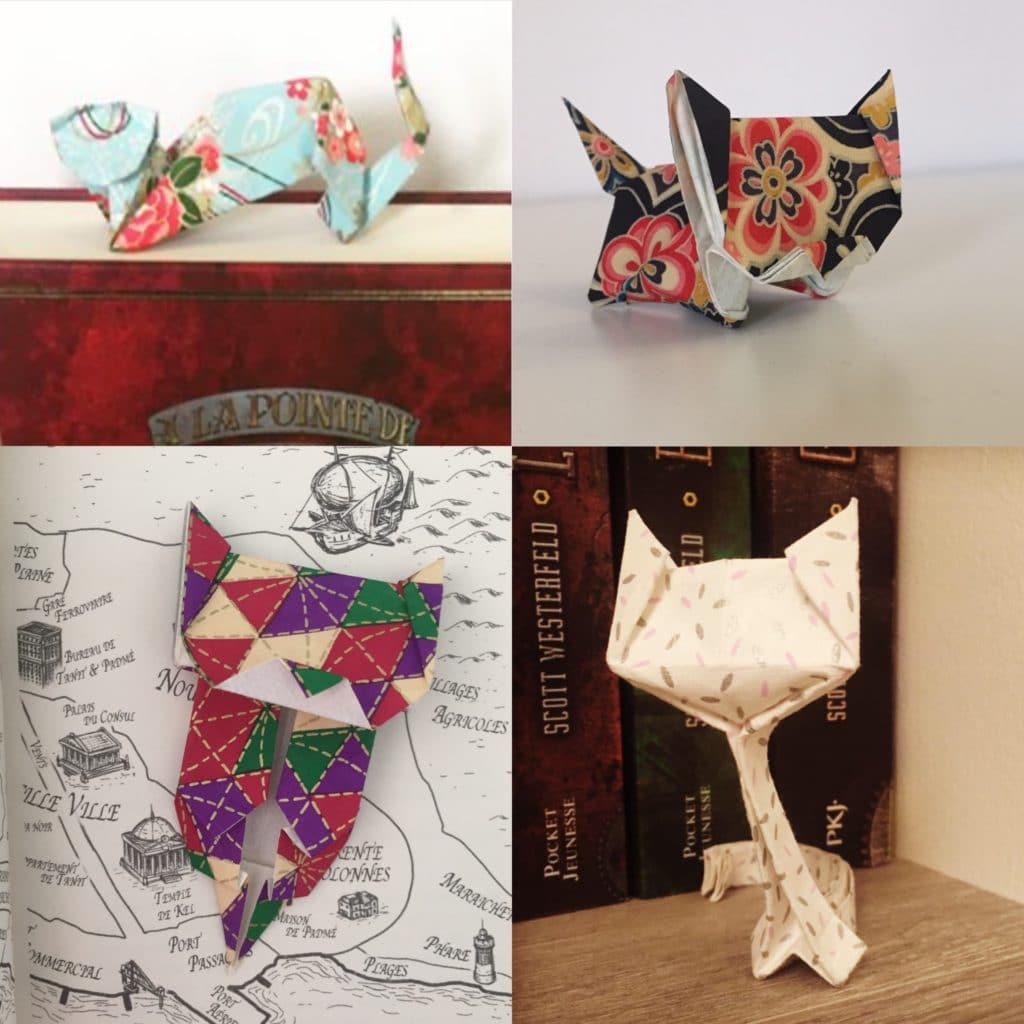 4 chats en origami